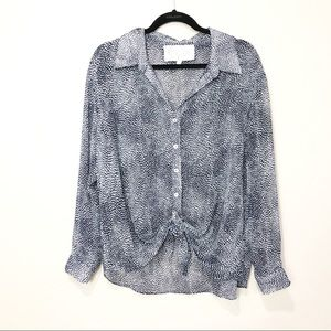Rory Beca Poly Georgette Sheer Button Down Blouse